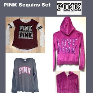VS PINK Set of 3 Sequin Sweatshirts size Small